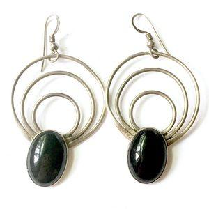STERLING SILVER Modernist Onyx Stone Earrings 925